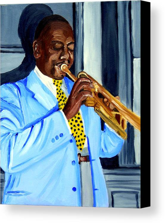 Street Musician Canvas Print featuring the painting Master Of Jazz by Michael Lee