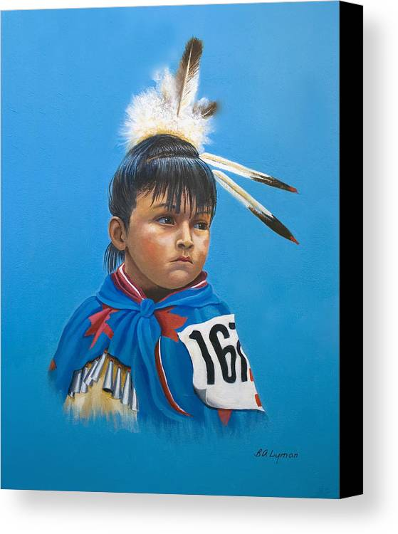 Native American Indian Dancing Girl Canvas Print featuring the painting Maybe Next Time by Brooke Lyman