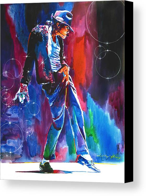 Michael Jackson Canvas Print featuring the painting Michael Jackson Action by David Lloyd Glover