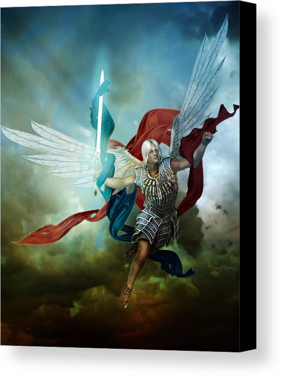 Arch Angel Canvas Print featuring the digital art Michael by Mary Hood