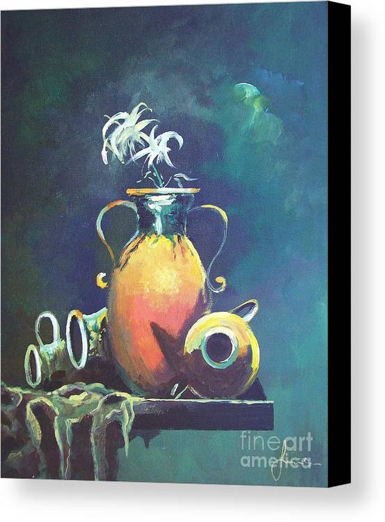 Still Life Canvas Print featuring the painting Midnight Moon by Sinisa Saratlic