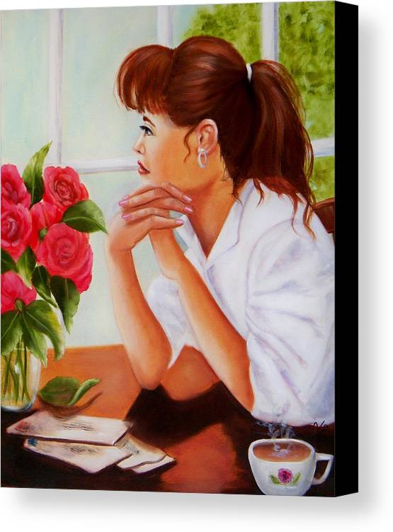 Portraits Canvas Print featuring the painting Missing You by Joni McPherson