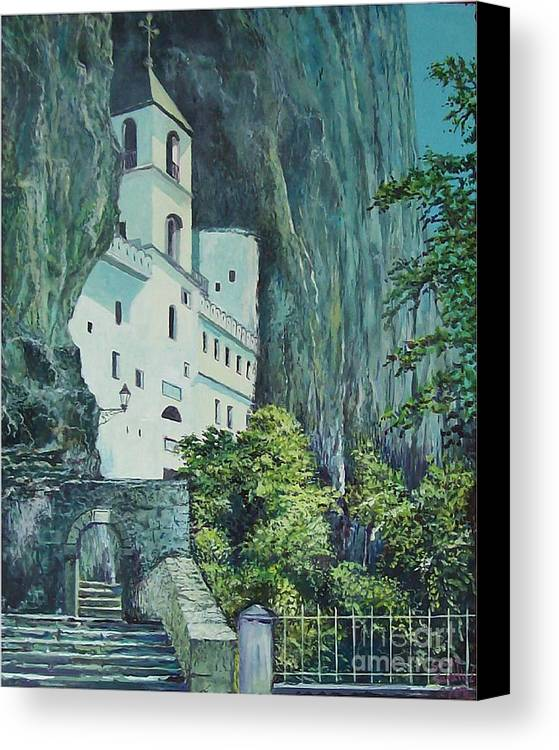 Architecture Canvas Print featuring the painting Monastery Ostrog Montenegro by Sinisa Saratlic