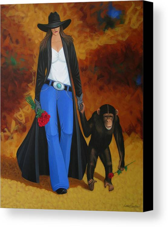 Monkey Canvas Print featuring the painting Monkeys Best Friend by Lance Headlee