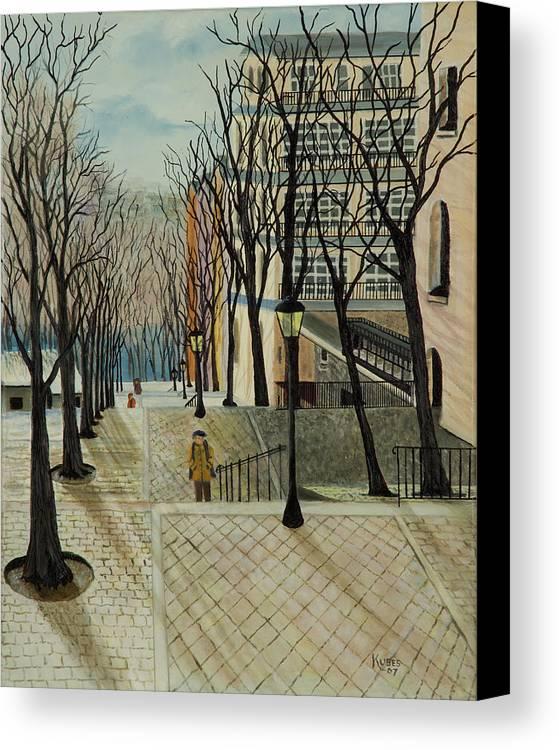 Paris Canvas Print featuring the painting Montmartre Steps In Paris by Susan Kubes