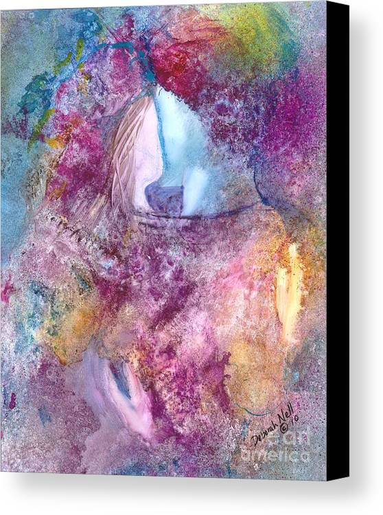 Kiss Canvas Print featuring the painting My Hero by Deborah Nell