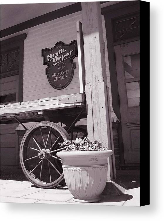 Train Canvas Print featuring the photograph Mystic Depot by Heather Weikel