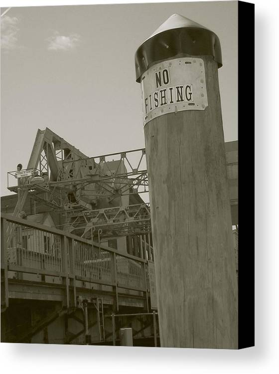 Mystic Canvas Print featuring the photograph Mystic Drawbridge No Fishing by Heather Weikel