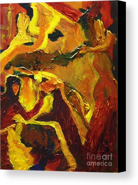 Struggle Canvas Print featuring the painting Nature Vs Man by Karen L Christophersen