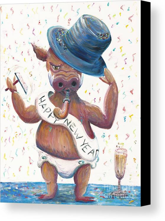 Hog Canvas Print featuring the painting New Years Hog by Nadine Rippelmeyer