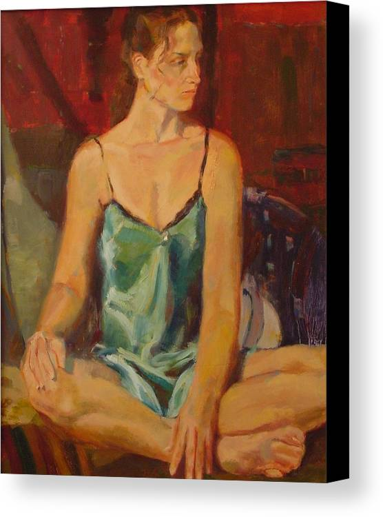 A Girl Canvas Print featuring the painting No by Irena Jablonski