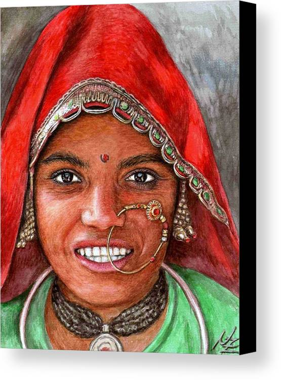 Woma Canvas Print featuring the painting Northindian Woman by Nicole Zeug