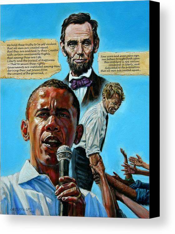 Obama Canvas Print featuring the painting Obamas Heritage by John Lautermilch