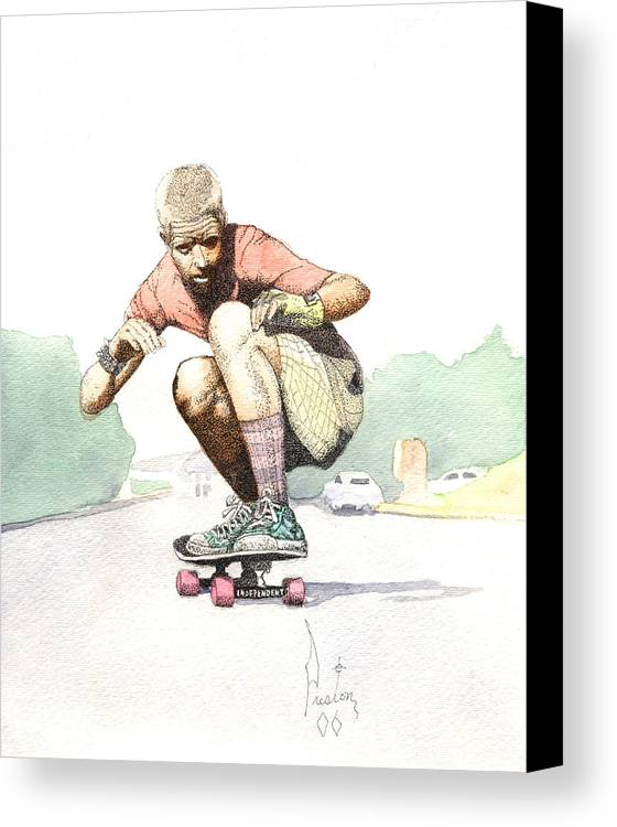 Duane Peters Skateboard Art Old School Nhs Santa Cruz Punk Skater Skateboarder Thrasher Canvas Print featuring the painting Old School Skater by Preston Shupp