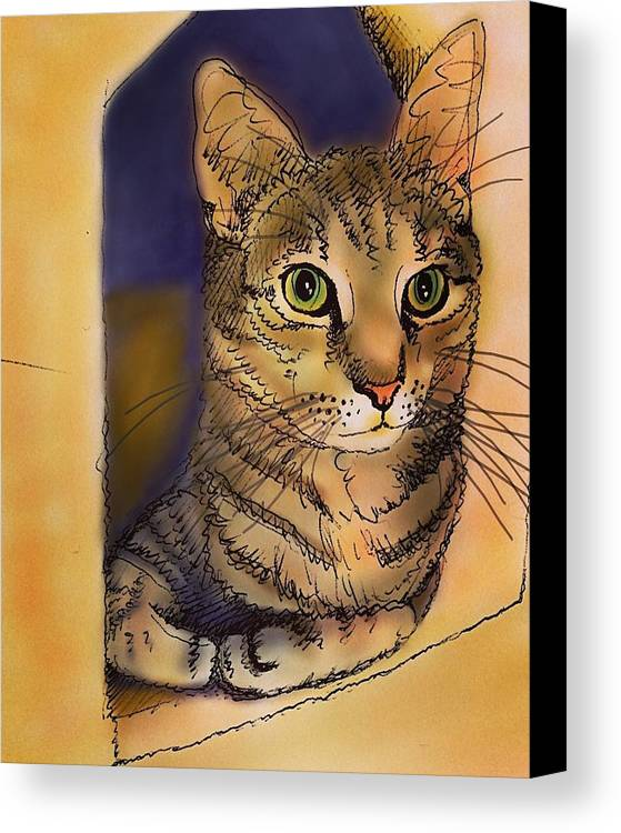 Ishtar Canvas Print featuring the drawing Orange Cave by Pookie Pet Portraits