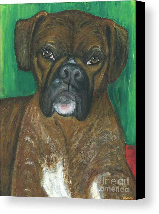 Boxer Canvas Print featuring the painting Oscar The Boxer by Ania M Milo