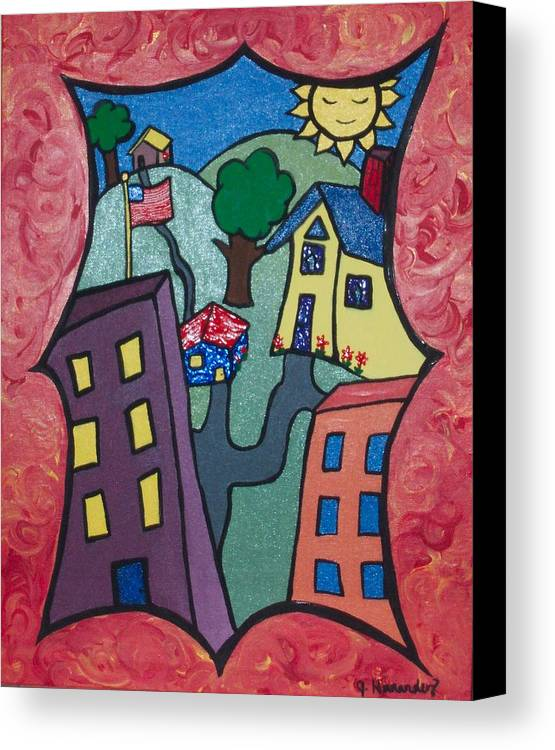Canvas Print featuring the painting Our Town by Jennifer Hernandez