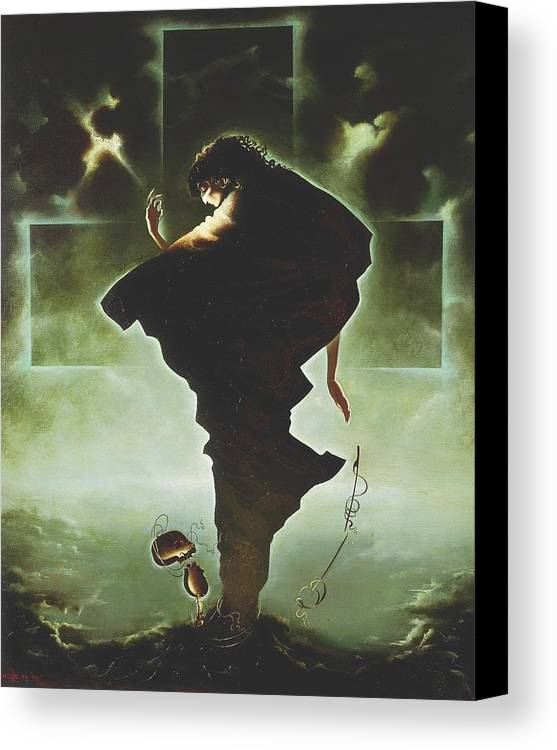 Figures Canvas Print featuring the painting Paganini by Andrej Vystropov