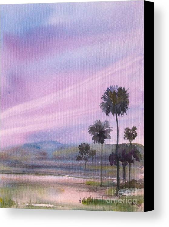 Watercolors Canvas Print featuring the painting Palm Trees by Asha Sudhaker Shenoy