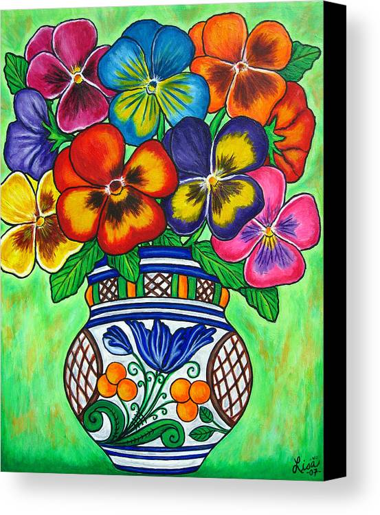 Flower Canvas Print featuring the painting Pansy Parade by Lisa Lorenz