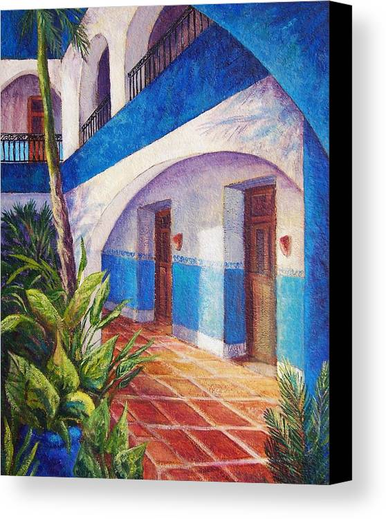 Interior View Canvas Print featuring the painting Patio In Merida by Candy Mayer