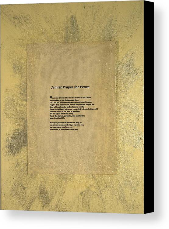 Peace Canvas Print featuring the painting Peace Prayers - Jainist Prayer For Peace by Emerald GreenForest