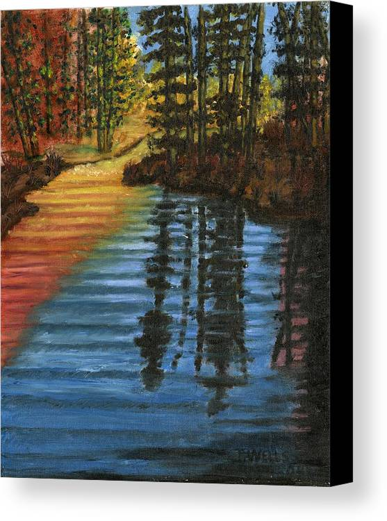 Peaceful Brook Stream Vibrant Color Reflective Canvas Print featuring the painting Peaceful Brook by Tanna Lee M Wells