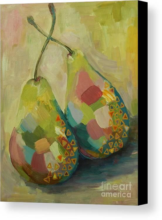 Pears Canvas Print featuring the painting Pears A La Klimt by Ruta Naujokiene