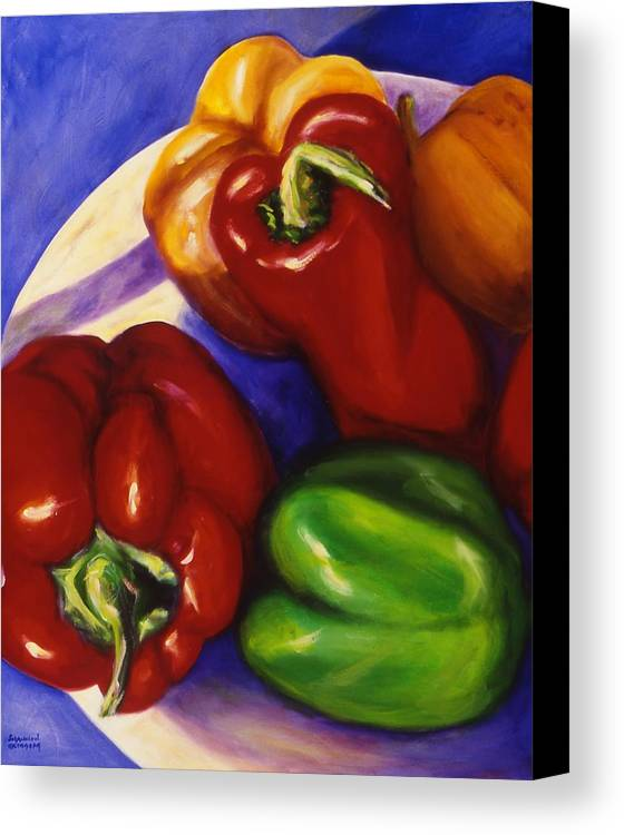 Still Life Peppers Canvas Print featuring the painting Peppers In The Round by Shannon Grissom