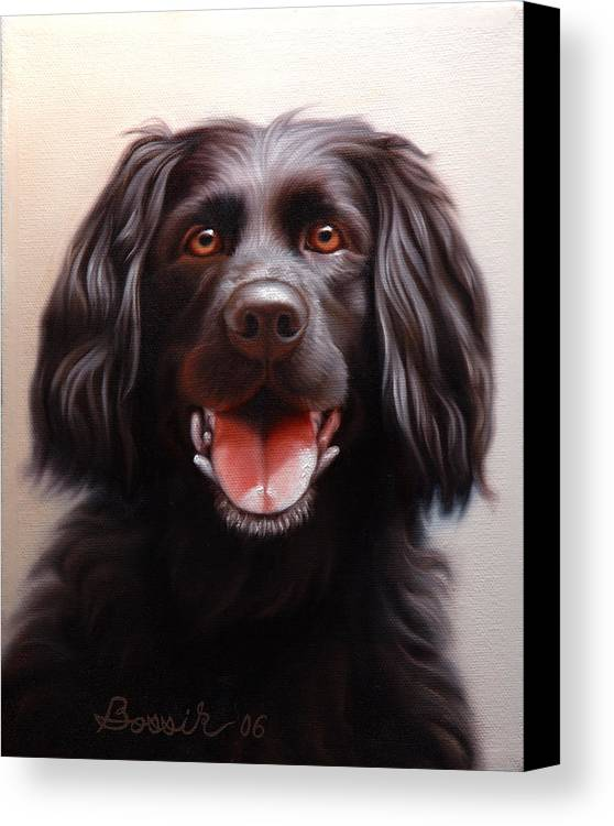 Black Labrador Canvas Print featuring the painting Pet Portrait Of A Black Labrador by Eric Bossik