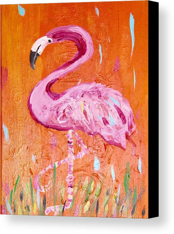 Flamingos Canvas Print featuring the painting Pink And Orange Flamingo by Rebecca Williams