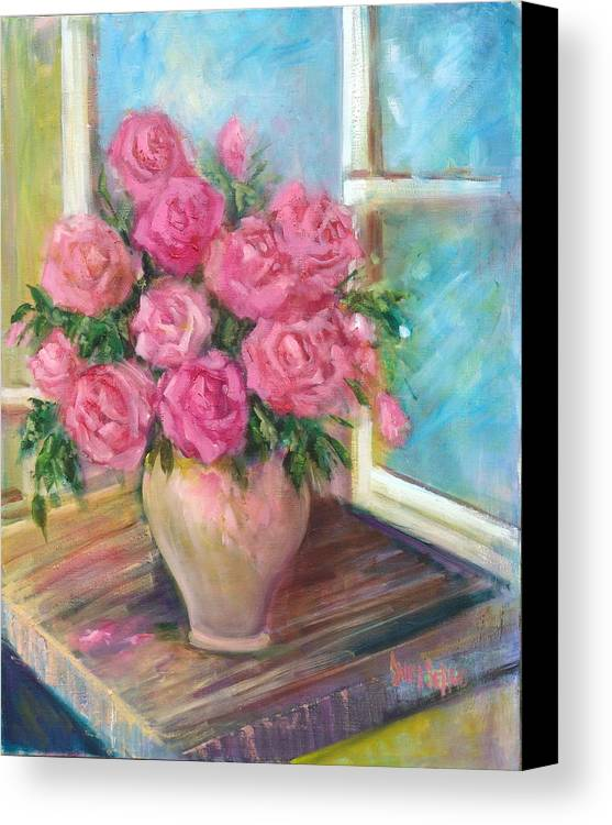 Flowers Canvas Print featuring the painting Pink Roses by Sally Seago