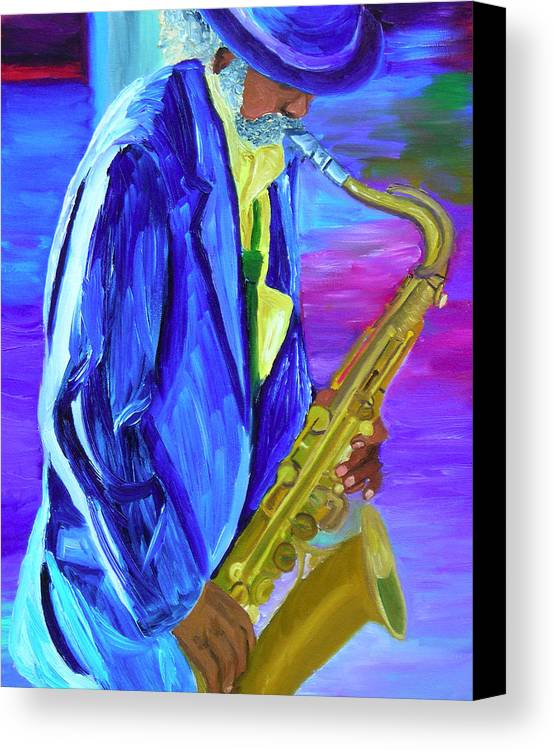 Street Musician Canvas Print featuring the painting Playing The Blues by Michael Lee