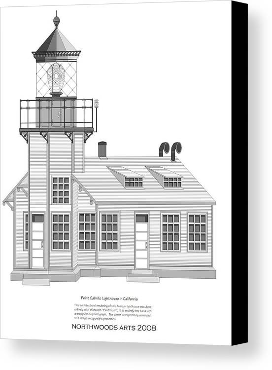 Lighthouse Canvas Print featuring the painting Point Cabrillo Architectural Drawing by Anne Norskog