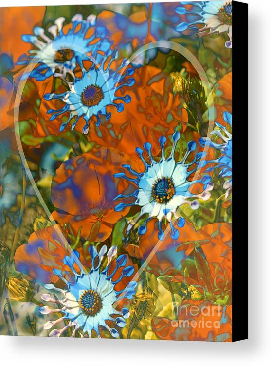 Floral Canvas Print featuring the digital art Poppy Love by Chuck Brittenham