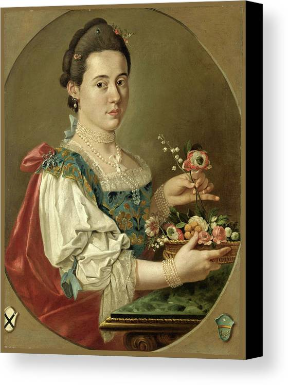 Giacomo Ceruti Canvas Print featuring the painting Portrait Of A Lady With A Flower Basket by Giacomo Ceruti
