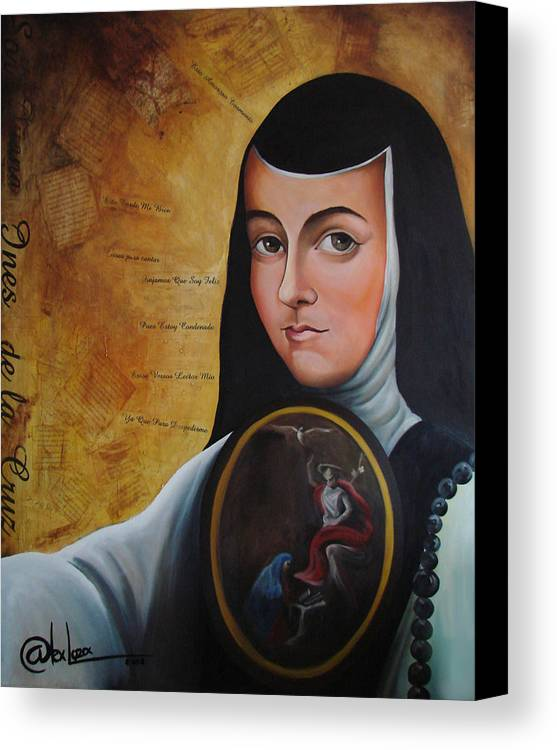 Mexico Canvas Print featuring the painting Portrait Of Sor Juana Ines De La Cruz by Alex Loza