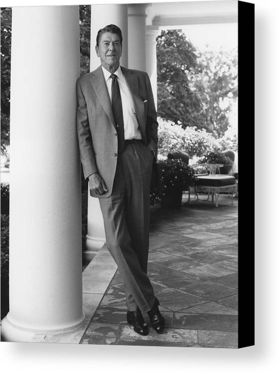 Good Ronald Reagan Canvas Print Featuring The Photograph President Reagan Outside  The White House By War Is