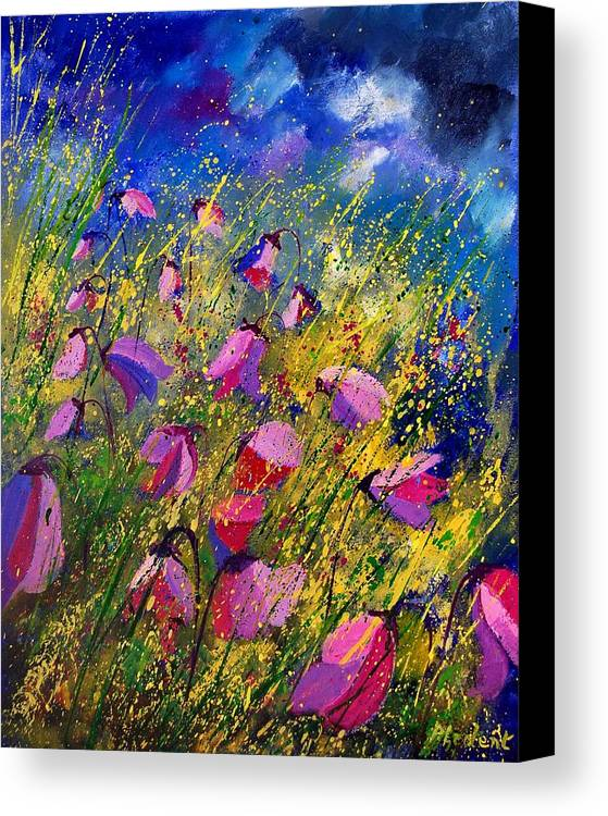 Poppies Canvas Print featuring the painting Purple Wild Flowers by Pol Ledent