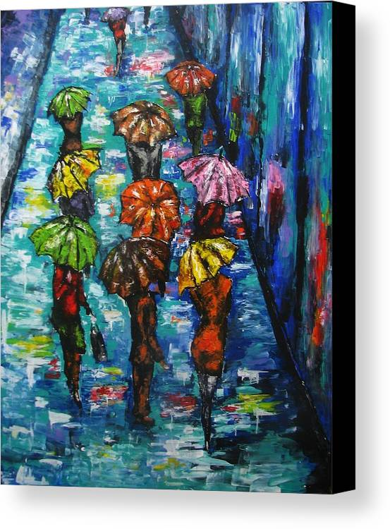 Rain Canvas Print featuring the painting Rain Fantasy Acrylic Painting by Natalja Picugina