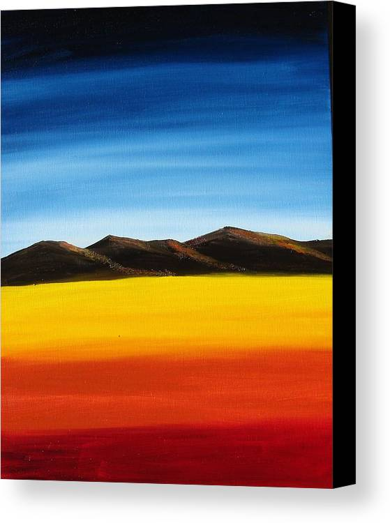 Mountains Canvas Print featuring the painting Rainbow Mountains by Liz Vernand