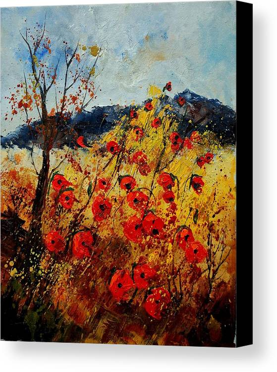 Poppies Canvas Print featuring the painting Red Poppies In Provence by Pol Ledent
