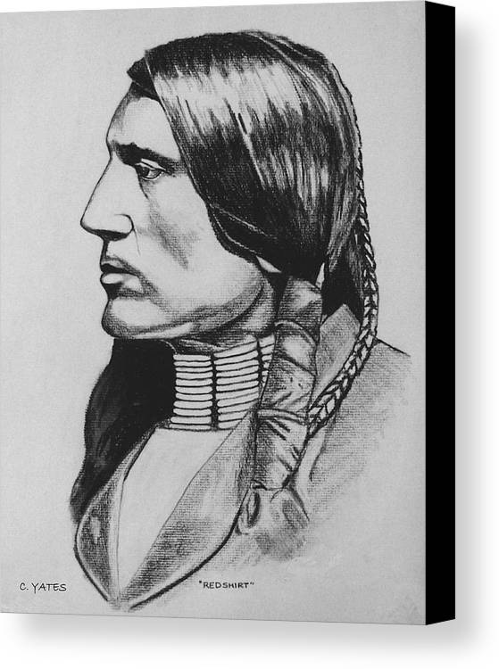 Native American Canvas Print featuring the drawing Redshirt by Charles Yates