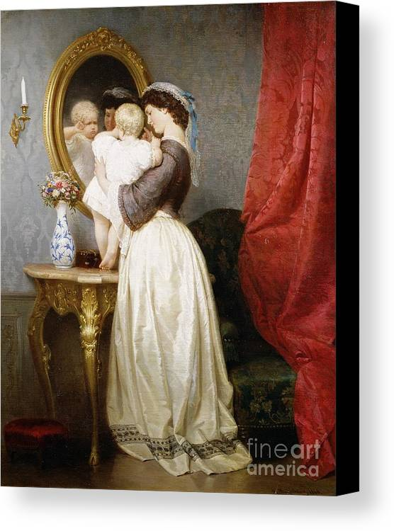 Reflections Canvas Print featuring the painting Reflections Of Maternal Love by Robert Julius Beyschlag
