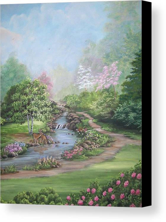 Deer Canvas Print featuring the painting Refreshing Stream by Sandra Poirier