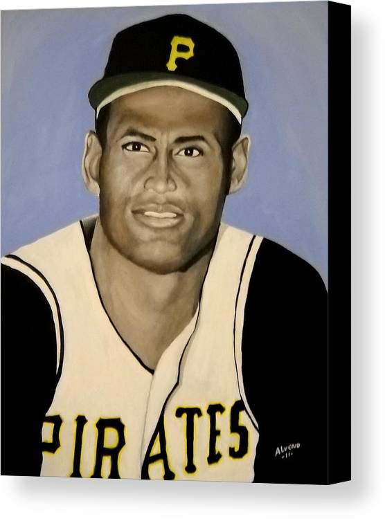 Roberto Canvas Print featuring the painting Roberto Clemente by Edwin Alverio