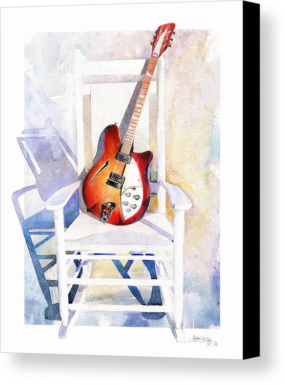 Guitar Canvas Print featuring the painting Rock On by Andrew King