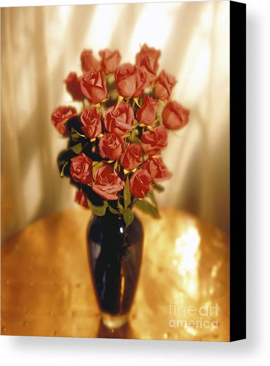 Red Canvas Print featuring the photograph Roses by Tony Cordoza