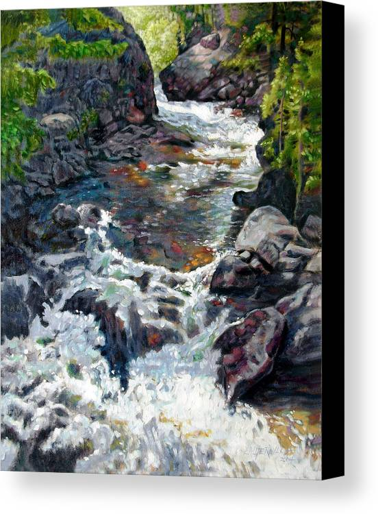 A Fast Moving Stream In Colorado Rocky Mountains Canvas Print featuring the painting Rushing Waters by John Lautermilch