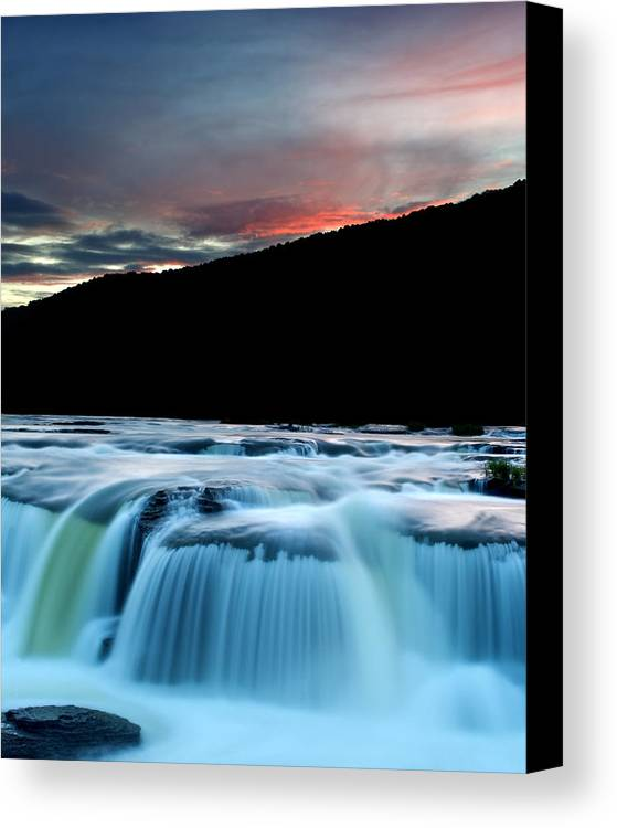 Sandstone Canvas Print featuring the photograph Sandstone Falls At Sunset In West Virginia by Brendan Reals